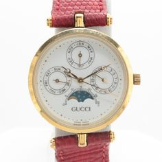 1ef8a81739a Gucci Gold Tone and Enameled Red Leather Strap Wristwatch