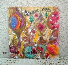 Carte de voeux,bonnes fêtes,carte aquarelle sur papier originale unique : Peintures par coralie-zabo-boheme