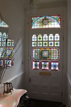Stained Glass Windows for Bathroom . Stained Glass Windows for Bathroom . W 13 Pale Blue Tudor Stained Glass Window House Window Design, House Design, Edwardian Haus, Stained Glass Door, Victorian Stained Glass Panels, Victorian Windows, Victorian Front Doors, Grades, White Doors