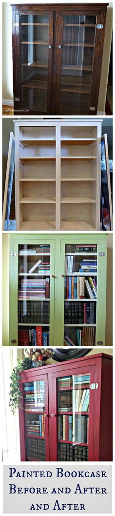 Painted bookcase before and after . . . and after