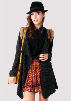 Faux Fur Drape Cardigan Coat