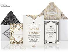 Design Your Perfect Wedding Invitations: Art Deco/Gatsby Style Art Deco Wedding Invitations, Wedding Stationary, Wedding Card, Event Invitations, Handmade Invitations, Wedding Shot, Wedding Paper, Dates, Gatsby Wedding