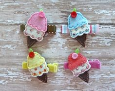 Ice Cream Felt Clips-felt, felts, baby, girls, toddlers, girl, toddler, clip, clips, hair, accessory, ice cream, ice cream cones, ice cream cone
