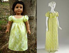 1812 Regency Lemonade Dress (Replica of Antique Dress) for American Girl Dolls - by Morgan May @ Stardust Dolls