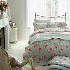 Buy Cath Kidston Antique Rose Bouquet Standard Pillowcase, Duck Egg Online at johnlewis.com