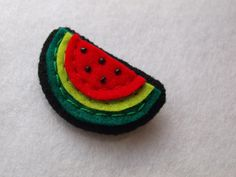 Watermelon felt pin - Fruit brooch - 100% wool felt watermelon, melon fruits summer , cute gift for girls , ladies , thecraftdesk by TheCraftDeskShop on Etsy