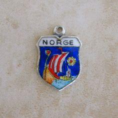 Norge Norway Enamel Travel Shield Vintage Silver Bracelet Charm Viking Ship REU by Charmcrazey on Etsy