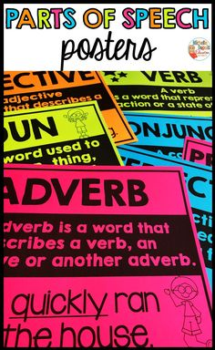 Parts of Speech Posters Adverbs, Prepositions, Primary Classroom, Classroom Ideas, Parts Of Speech, Teaching French, Educational Activities, Teaching Tips, Task Cards