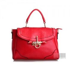 PICCADILLY: 'Croc Texture' Leather Chic Handbag - Red - $197.50