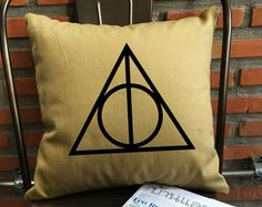 SALE !! Deathly hallows throw pillow cover Harry potter Throw Pillow cover cotton canvas pillow cover
