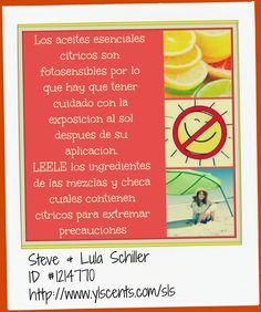 Los Aceites esenciales citricos son fotosensibles por lo que hay que tener las debidas precauciones y NO exponernos al sol por lo menos por 12 horas!