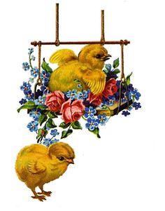 Free freebie printable vintage diecut scrap Easter chicks, swing