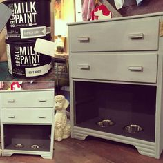 Pet station!  Storage and mess control!  Real Milk Paint mix of French Grey and Soft White!
