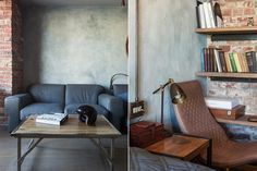Ipari stílus 36m2-en, retro elemekkel, üvegfalú fürdőszobával - egy fiatal férfi kis lakása - Lakberendezés trendMagazin
