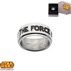 """Disney Stainless Steel Star Wars """"MAY THE FORCE BE WITH YOU"""" Jedi Spinner Ring (as of 2/9/2016)"""