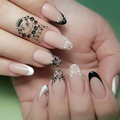 NagelDesign Elegant ( Ongles ) – NagelDesign Elegant ♥ - Famous Last Words French Manicure Designs, French Tip Nails, Nail Art Designs, Gorgeous Nails, Pretty Nails, Hair And Nails, My Nails, Gigi Nails, Luxury Nails