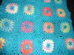 Crochet granny square turquoise blue multicolour by krittenart