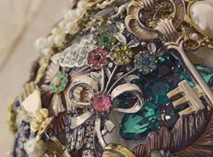 multi brooch bouquet, vintage brooches, tillymintloves