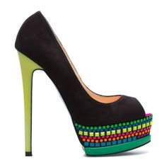"""A wise man once said to """"put on your dancing shoes."""" Obviously he was referring to Jaleen. This spirited peep-toe by SCENE is enhanced by a rainbow of studs on its platform sole."""