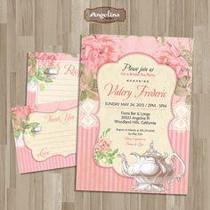 Shabby chic Bridal Tea Party  Invitation. DIY card. Roses. Digital Printable card 5x7 inch on Etsy, $14.90