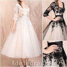 Hot Sales Long Sleeves Lace Tulle Tea Length Wedding Dress,Black Champagne Short Wedding Dress,Outside Beach Bridal Wedding Gown,Prom Dress By Adeledresses