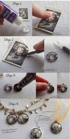 DIY Photo Pendants ~ Could make them into magnets, too.
