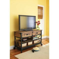Better Homes and Gardens Rustic Country Antiqued Black/Pine Panel TV Stand for TVs up to 52 inch, Green