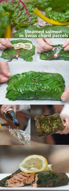 Steamed #salmon in Swiss #chard parcels, recipe by Emma Currie of the Brass Cafe in Mt. Pleasant, #Michigan.