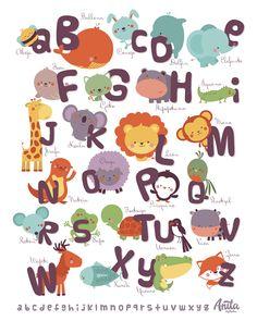 Abecedario on Behance Alphabet Letters Design, Alphabet Crafts, Alphabet For Kids, Alphabet Print, Animal Alphabet, Alphabet And Numbers, Trap Art, Emoji Pictures, Kids Wall Decor