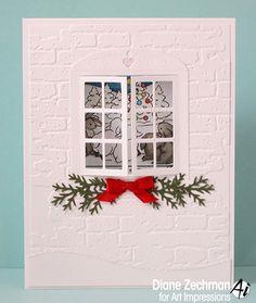 Art Impressions Rubber Stamps: Savior Window (M4689)  Window Die (4619) ... handmade Windows to the World card.  embossed bricks, Christmas, Winter, house lamb, sheep, rabbits, tree, star