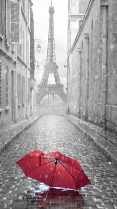 Red Umbrella Paris Street Rainy Day Eiffel Tower #iPhone #5s #wallpaper