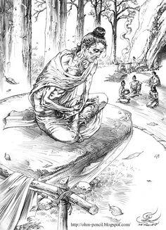 ดินสอ-หมึกดำ: บำเพ็ญทุกรกิริยา Buddha Drawing, Buddha Painting, Buddha Life, Buddha Art, Gautama Buddha, Buddha Buddhism, Chinese Dragon Drawing, Tibet, Indian Illustration