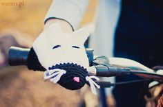 Cats bike hand warmers adult size bike gloves spring by warmsy, $29.00