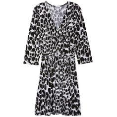 Plus Size Women's Leota Wrap Dress (935 CNY) ❤ liked on Polyvore featuring plus size women's fashion, plus size clothing, plus size dresses, painted leopard grey, plus size, gray wrap dress, plus size grey dress, plus size leopard print dress, leopard wrap dress and grey wrap dress