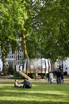 Pop-up offices in trees in Hackney by Tate Harmer