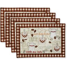 Available at Walmart! I need these for my kitchen tableBetter Homes and Gardens Placemats, Set of 4, Coffee Tapestry