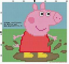 Peppa Pig on the mud cross stitch pattern - free cross stitch patterns simple unique alphabets baby Beaded Cross Stitch, Cross Stitch Baby, Cross Stitch Charts, Cross Stitch Patterns, Jumper Knitting Pattern, Knitting Charts, Knitting Patterns Free, Knitting For Kids, Baby Knitting