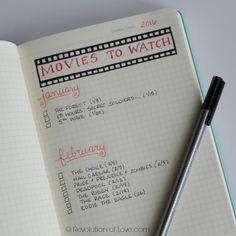 RevolutionofLove.com - Bullet Journal Spring Update //bujo_movie_list_mar