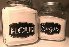 Kitchen Canister Label Stickers  Flour & Sugar  by StickItStickers, $6.00 These can be used to pretty up your plain old canisters. The stickers are vinyl with a self-adhesive, semi-permanent glue on the back. They are 1 time use, but can be removed with ease whenever you'd like to change things up.  https://www.etsy.com/shop/StickitStickers
