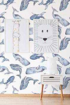 Whales removable wallpaper, watercolor pattern with smiling whales, nursery temporary wallpaper, peel and stick mural# Kids Room Wallpaper, Bathroom Wallpaper, I Wallpaper, Watercolor Whale, Watercolor Pattern, Baby Room Set, Gender Neutral Bedrooms, Nautical Wallpaper, Whale Nursery