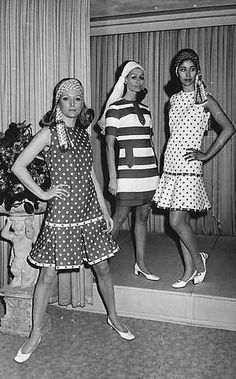 Three simple cotton dresses by Ferry Offerman, Dutch, spring/summer 1969.