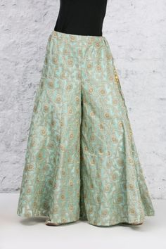 Mint Green Sharara in Banarasi Silk