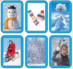 Kaarten winter   Je kan deze gebruiken als memory of om te sorteren op seizoen.