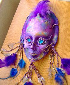 Purple And Indigo Spirit Face Mask Sculpture by JanePriserArts