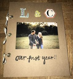 This was a very fun and simple gift to make for my boyfriend for our one year anniversary! I thought I'd share in case anyone else needed inspiration!  Supplies Needed:  -Scissors (decorative edge scissors optional) -Hole Puncher -Elmer's Dot Runner -Eyelet Kit -12 Scrapbooking Pages (8 by 1...