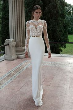 White Sheath Wedding Dresses Jersey Lace Sheer Scoop Illusion Full Hollow Back Sash Sweep Train Cheap Bridal Gowns Vestidos 2015 Wedding Dresses, Wedding Attire, Bridal Dresses, Wedding Gowns, Bridesmaid Dresses, Prom Dresses, Dresses 2014, Lace Wedding, Elegant Wedding