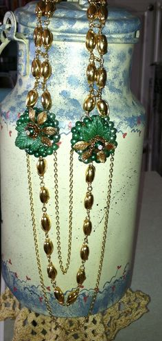 Necklace made with an old pair of clip on earrings from the 50's.