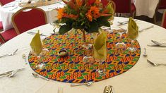 traditional wedding centerpiece with kita loincloth African Wedding Theme, African Theme, Ethnic Wedding, African Weddings, Rustic Wedding Decorations, Wedding Centerpieces, Traditional Wedding Decor, African Home Decor, Wedding Table Settings