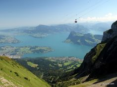 Cable car flying in the air. - Pilatus, #Switzerland #travel