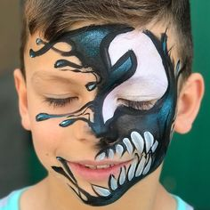 61 Halloween Make-up für Babys erhaben! Monster Face Painting, Face Painting For Boys, Face Painting Designs, Face Paint Makeup, Zombie Face Paint, Makeup Art, Venom Face, Animal Face Paintings, Kids Makeup